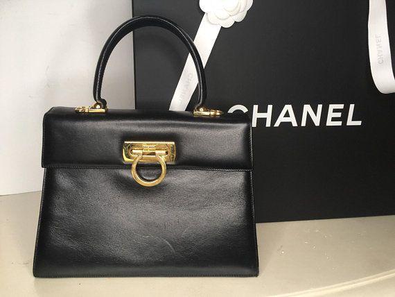 652a883921 Salvatore Ferragamo Kelly Style Bag Gancini Handbag Top Handle Bag  Authentic Vintage