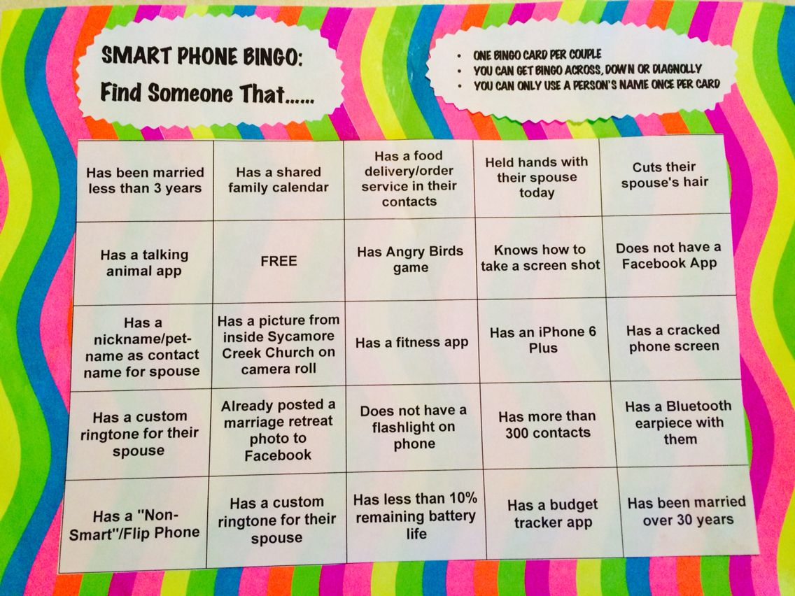 Marriage Retreat Ice Breaker Smart Phone Bingo Game