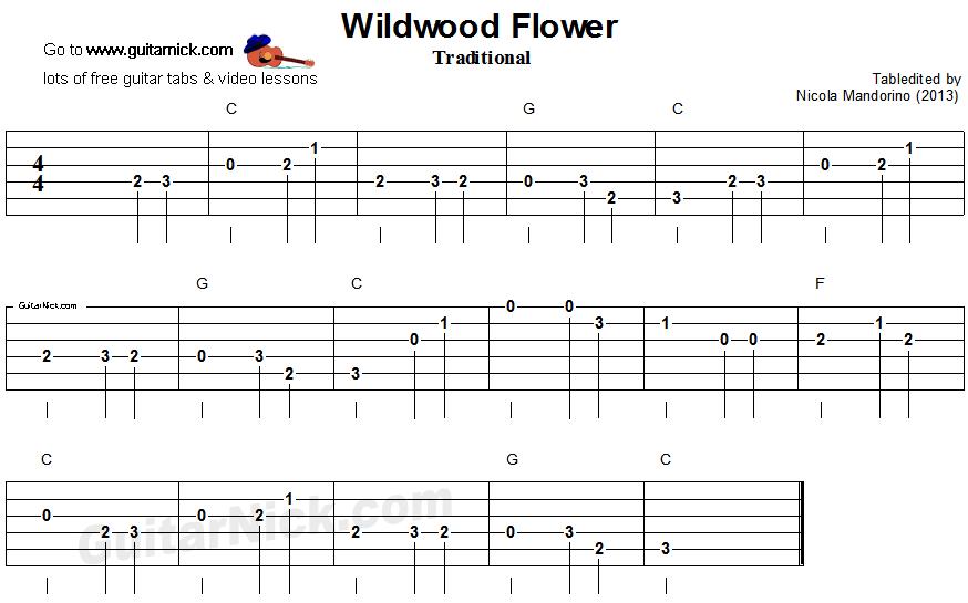 Wildwood Flower - easy guitar tablature | All things guitar ...