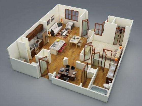 50 Plans En 3d D Appartement Avec 1 Chambres Sims House