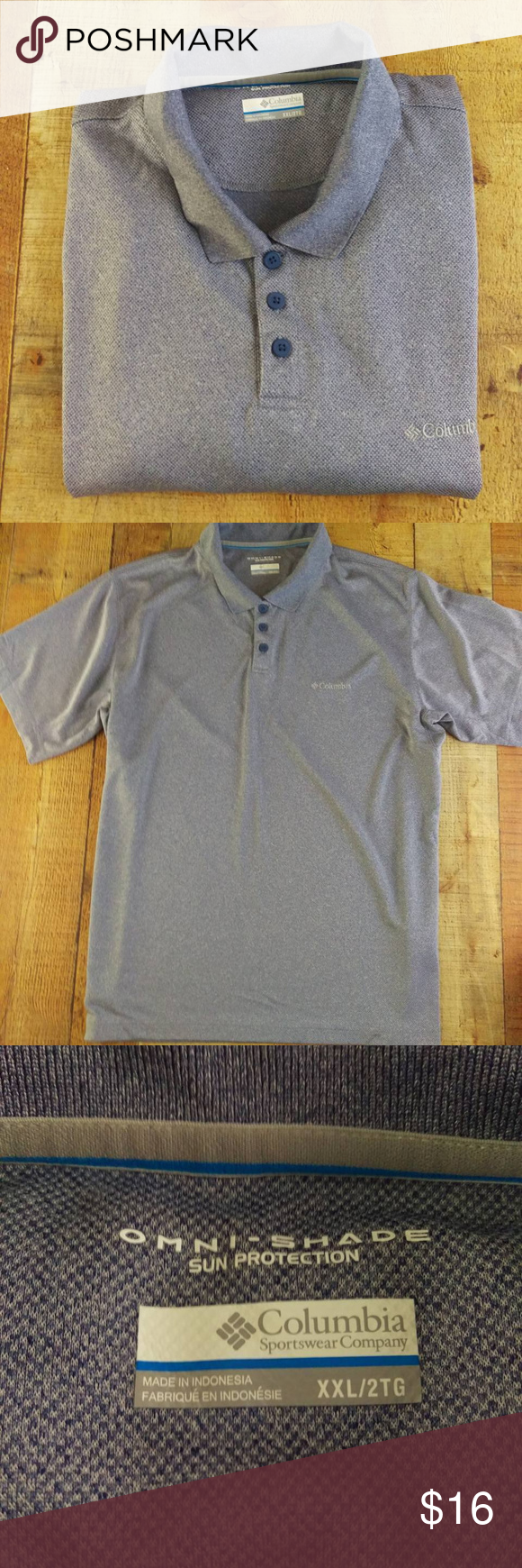Columbia Sport Polo Golf Shirt Heather Grey Columbia Omni Shade