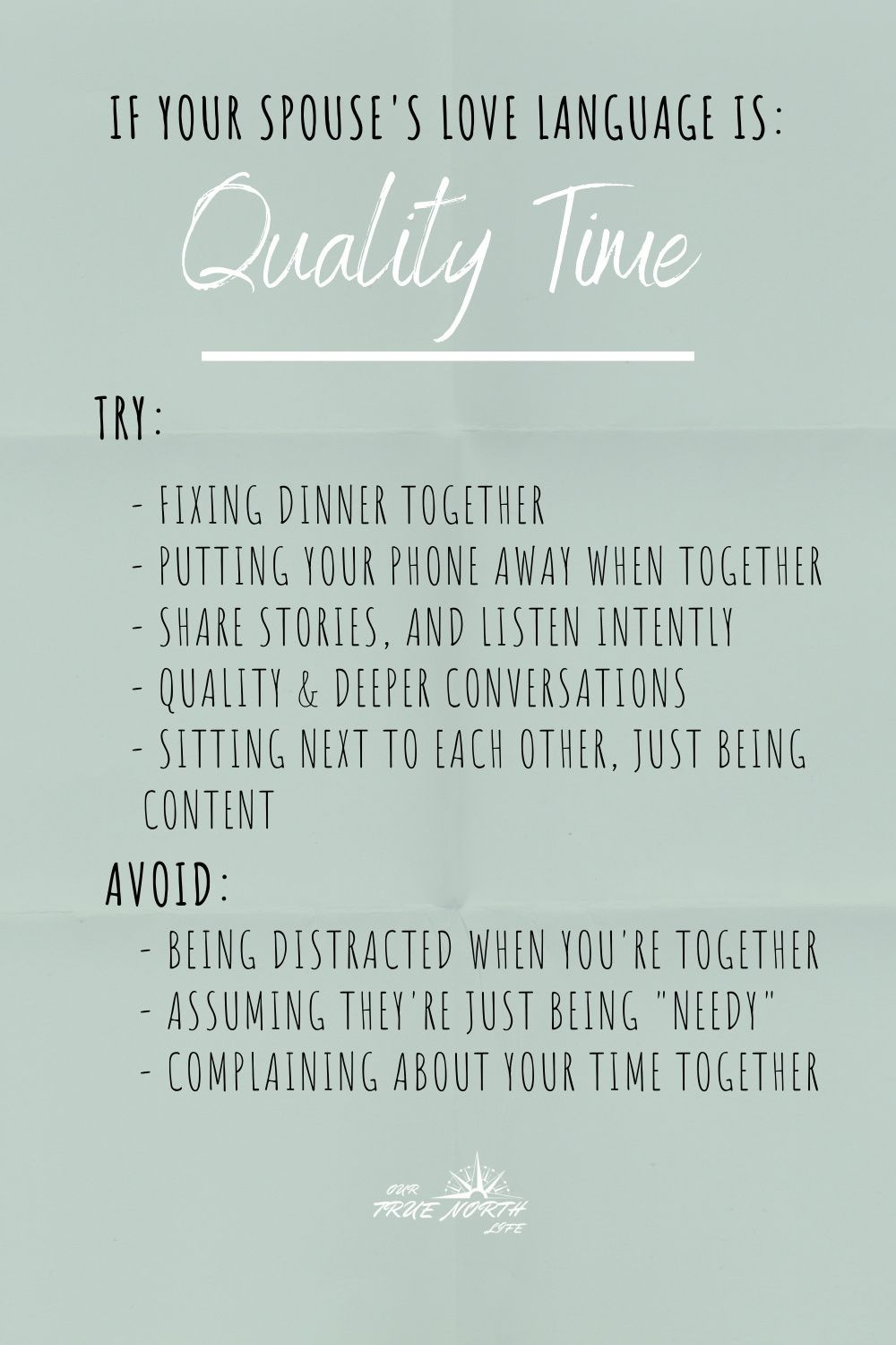Ideas for love language of quality time. Tips on what to do and what NOT to do. #ilovemyspouse #lovelanguagequalitytime