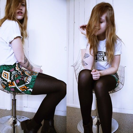 More looks by Kathrine Ottander: http://lb.nu/user/37525-Kathrine-O  #casual #chic #street #pattern #boots #skirt #vans