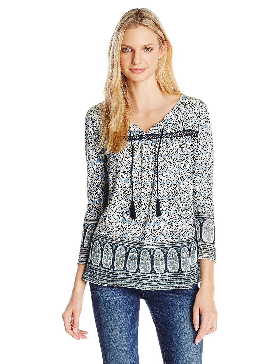 5fd0c478fedd18 Lucky Brand Women's Jaipur Border Print Top ** Read more at the image link.