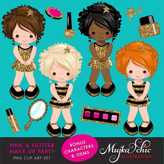 Pink Glitter Make Up Party Clipart Make Up Items Powder Etsy Party Clipart Cute Dolls Clip Art