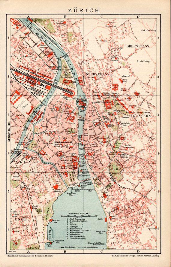 DENMARK COPENHAGEN City Map Lithograph 1892 old historical map antique print