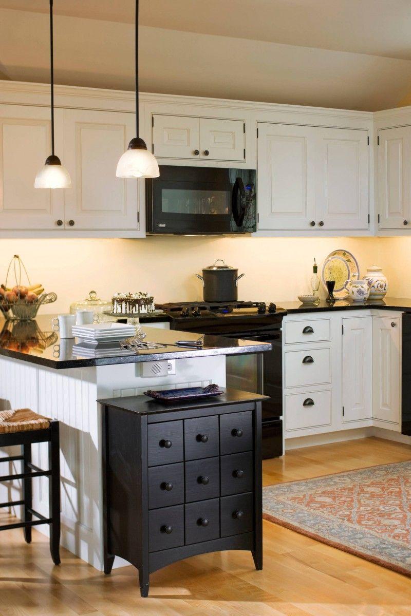 Black Appliances White Cabinet Black Drawers Black Countertop Ceiling Lights Area Rug Bar Black Appliances Kitchen Affordable Farmhouse Kitchen Kitchen Design