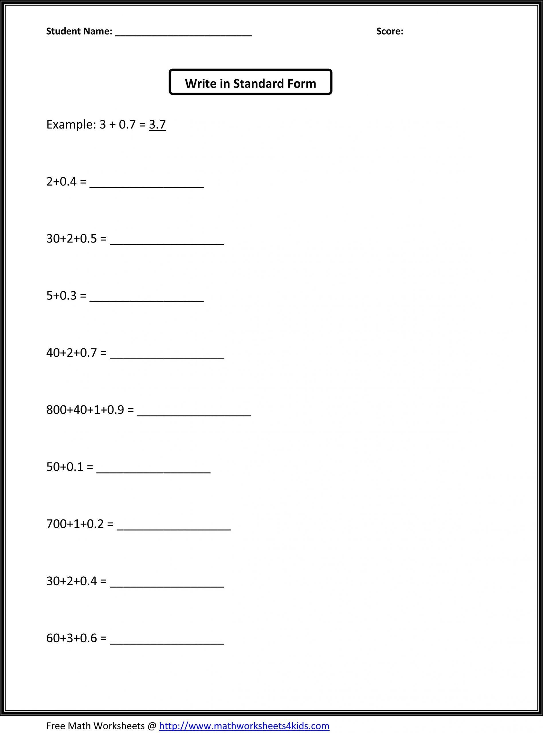 5 Free Math Worksheets Fourth Grade 4 Addition Adding Whole
