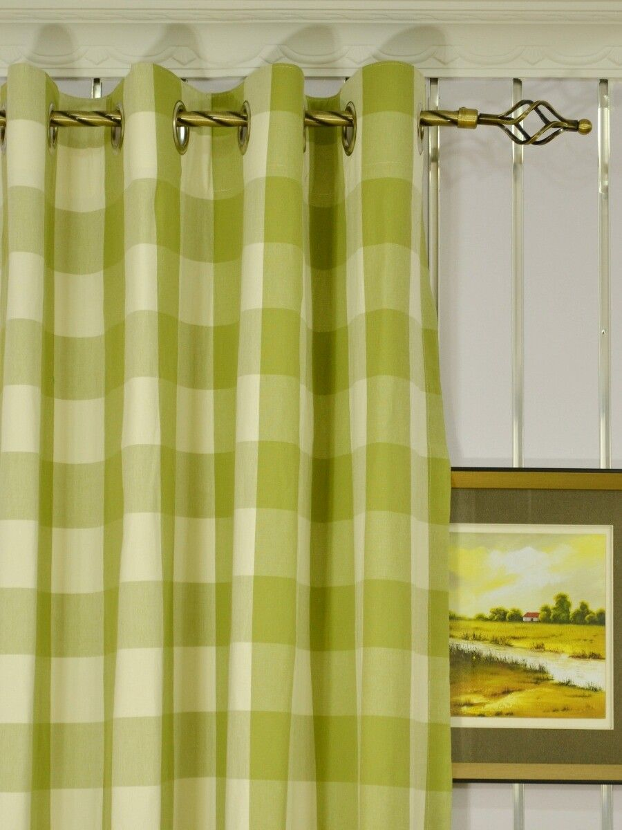 Moonbay Checks Grommet Cotton Extra Long Curtains 108 Inch 120