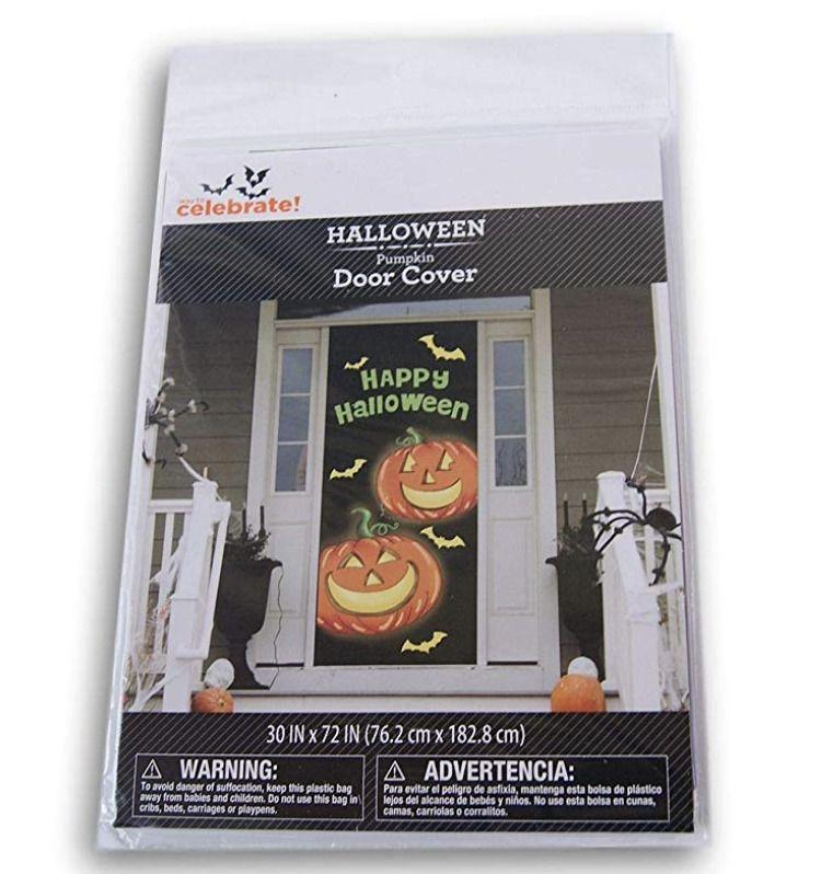 Halloween Pumpkins Door Cover Jack-o-Lantern Wall Decoration 30x72 Scene Setter
