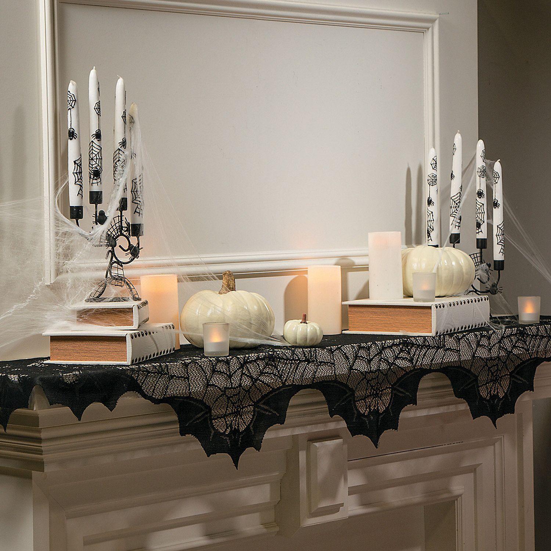Black lace spider web mantel scarf halloween decoration