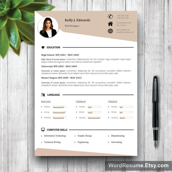 Resume Template, CV Template + Cover Letter + References and - resume 5 pages