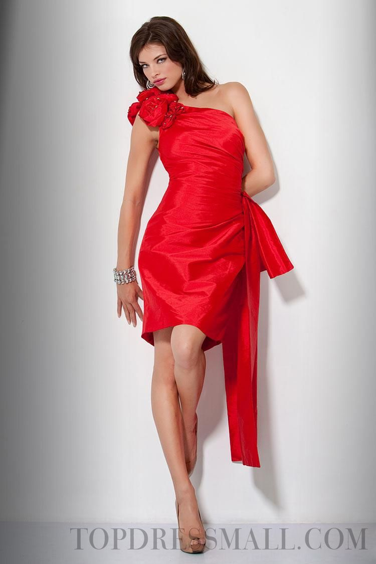 Sheath column one shoulder short mini taffeta cocktail dresses