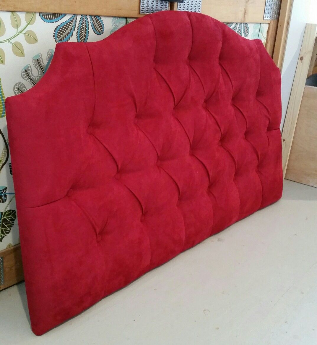 Red Suede Tufted Upholstered Headboard Custom Wall Mounted