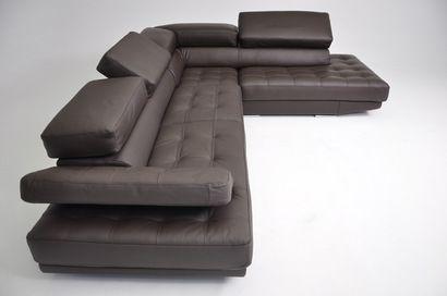 Modern Sofa Vig Furniture Dima Principe Brown Full Top Grain Leather Sectional Sofa Made in Italy