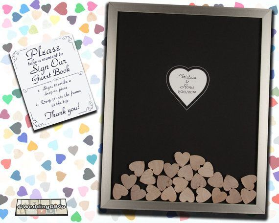 Unique Wedding Guest Book Alternative Wood Drop In Top Heart Frame ...