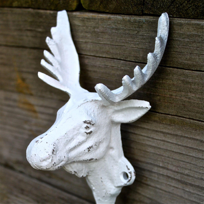 White MOOSE Wall Hook/ Shabby Chic White / Coat rack/ Jewelry ...