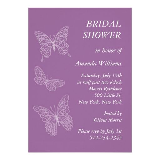 filigree butterfly bridal shower purple personalized invitation
