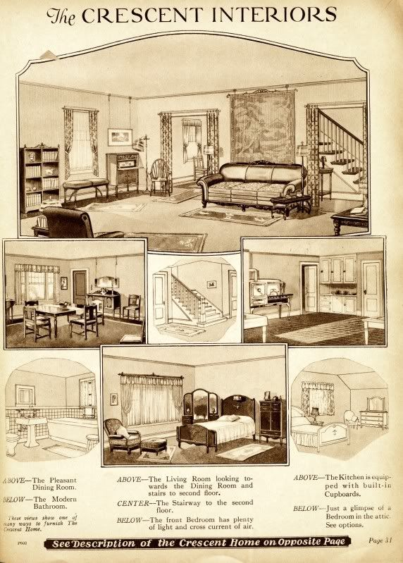 from the 1919 sears catalog heres a view of the crescents interior architecture planarchitecture interior designhouse - 1919 House Plans