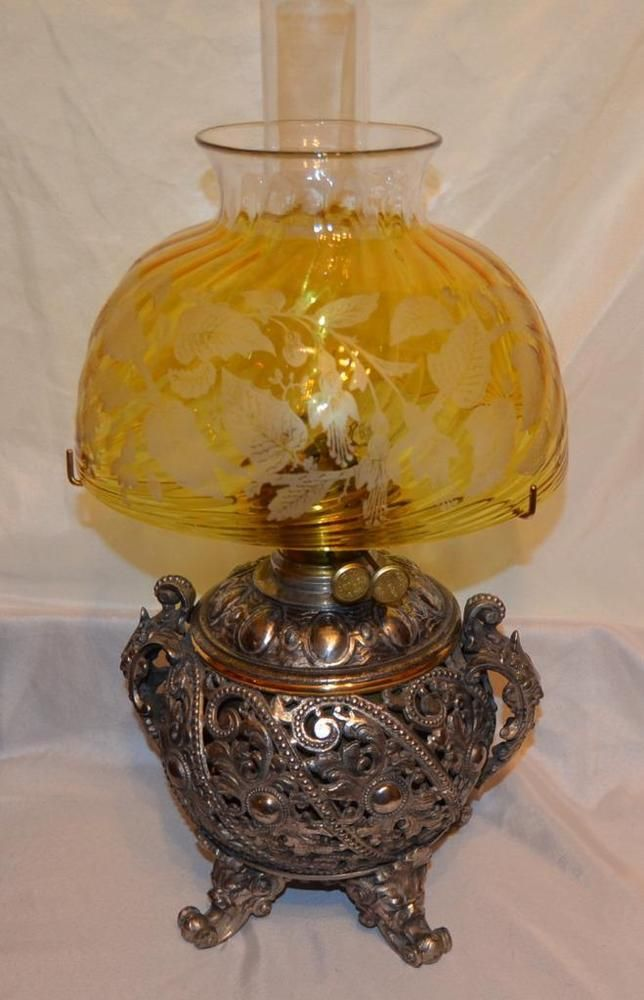Antique 1800s Silver Plated Miller Banquet Oil Lamp Stunning Victorian Shade Oil Lamps Antique Lamps Lamp