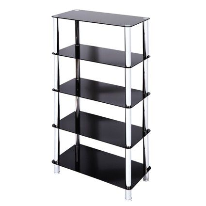 Milano 5 Tier Black Glass Shelving Unit With Chrome Legs