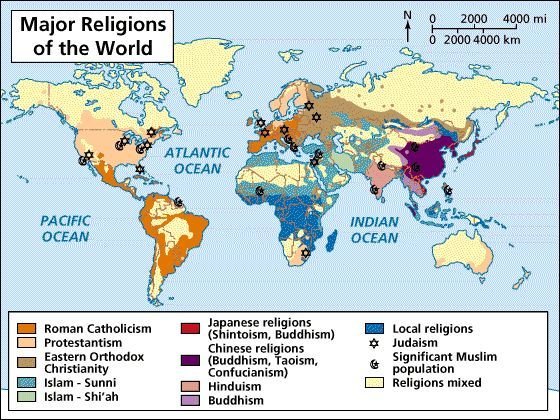 Map Of World Religions Here The Major Religions Throughout The - World religion map worksheet