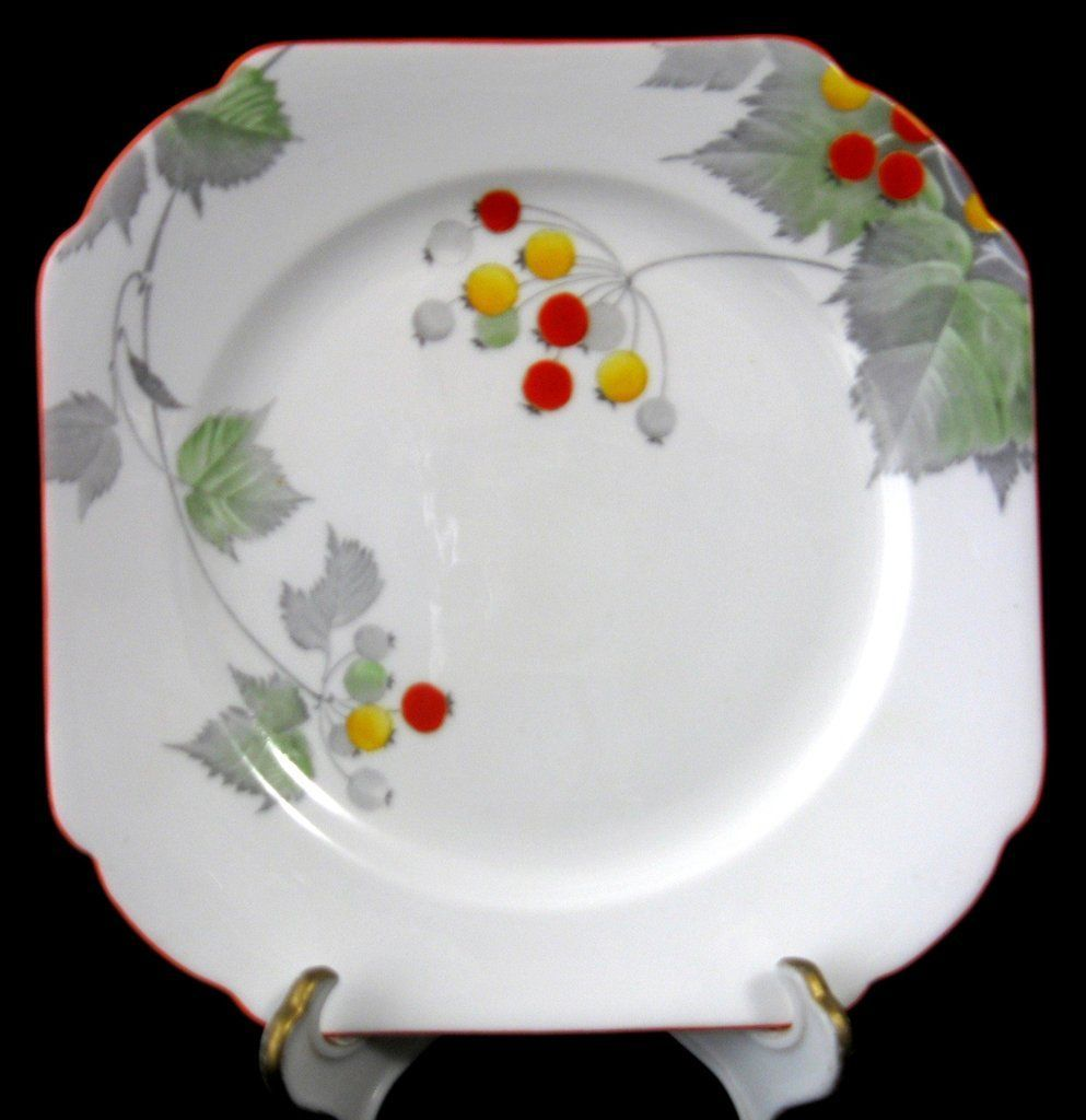 Explore Square Plates Cuppa Tea and more!  sc 1 st  Pinterest & Shelley Art Deco Bread Plate Regent Berries Orange Trim 1930s Hand ...
