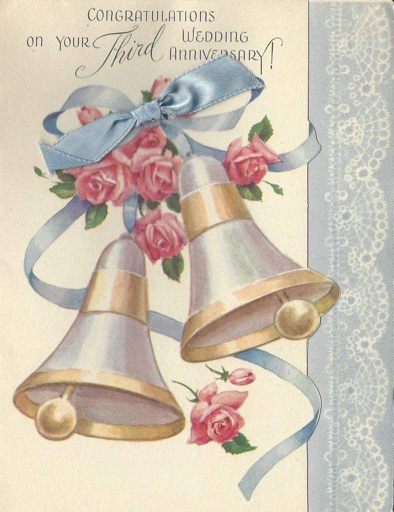 wedding anniversary card pictures%0A Vintage Greeting Card  Anniversary  Rust Craft  Wedding Bells  Ribbon   Unused