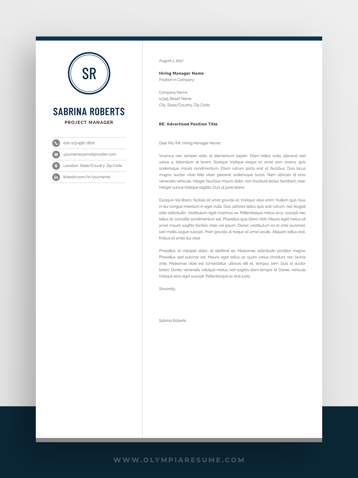 Professional 1 Page Resume Template Modern One Page Cv Etsy One Page Resume Template Resume Template Word Resume Template