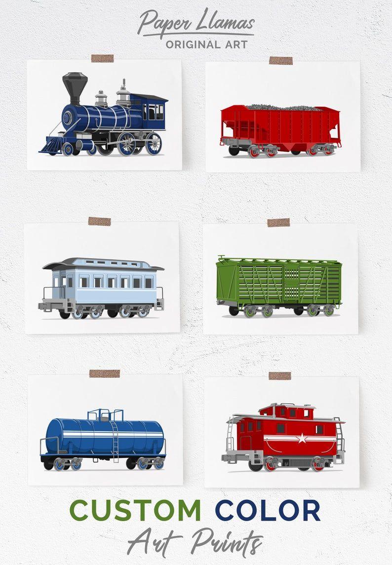 Vintage Train Nursery Wall Art Set Of Six Prints Pick Your Etsy In 2020 Vintage Train Nursery Train Nursery Train Wall Art