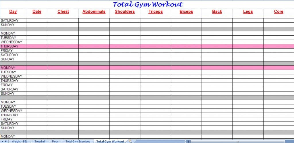 Total Gym Workout Plan Spreadsheet Total Gym Workout Plan Gym