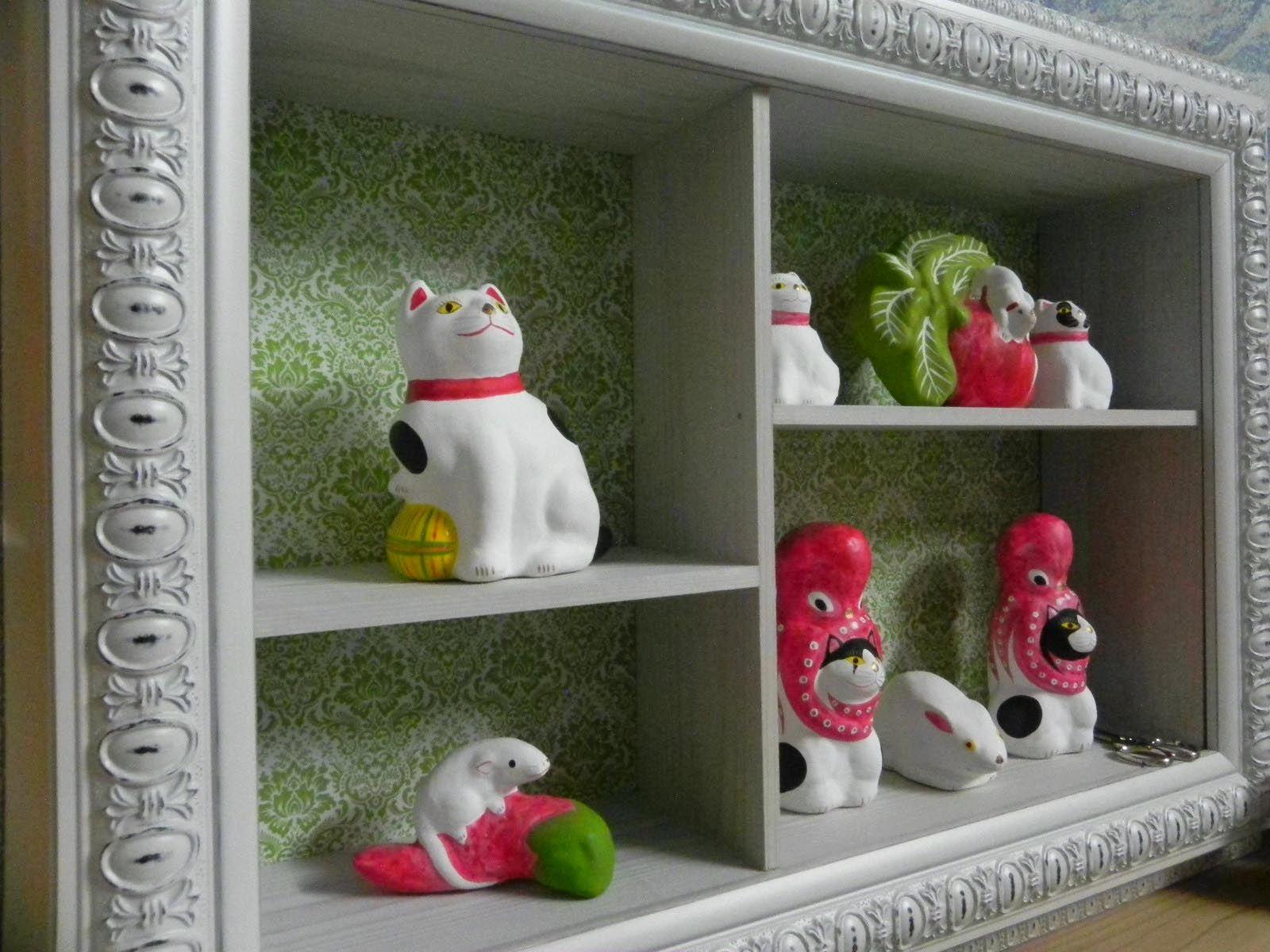 郷土玩具 蛸と猫 山形県米沢市に江戸時代から200年以上続く伝統の土人形 相良人形 招き猫 猫 米沢