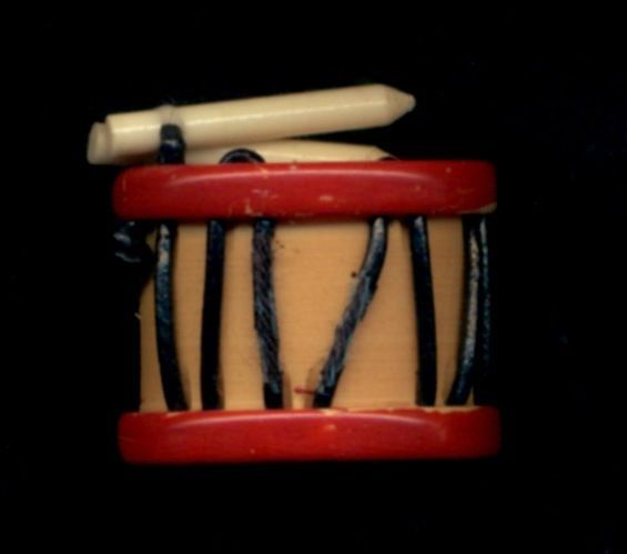 Vintage Button...Bakelite DRUM with Celluloid Sticks and Coated String Trim