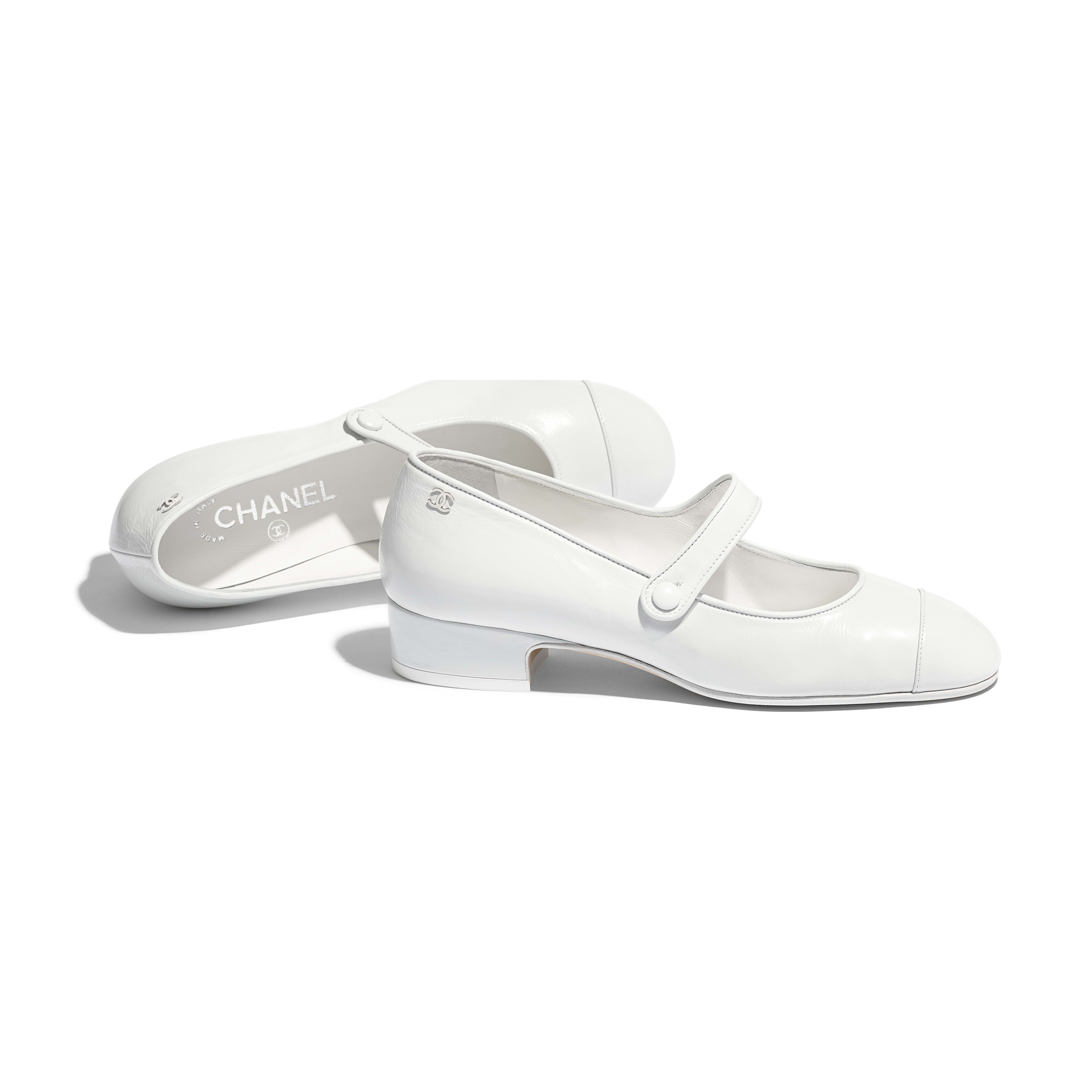 Calfskin White Mary Janes   CHANEL