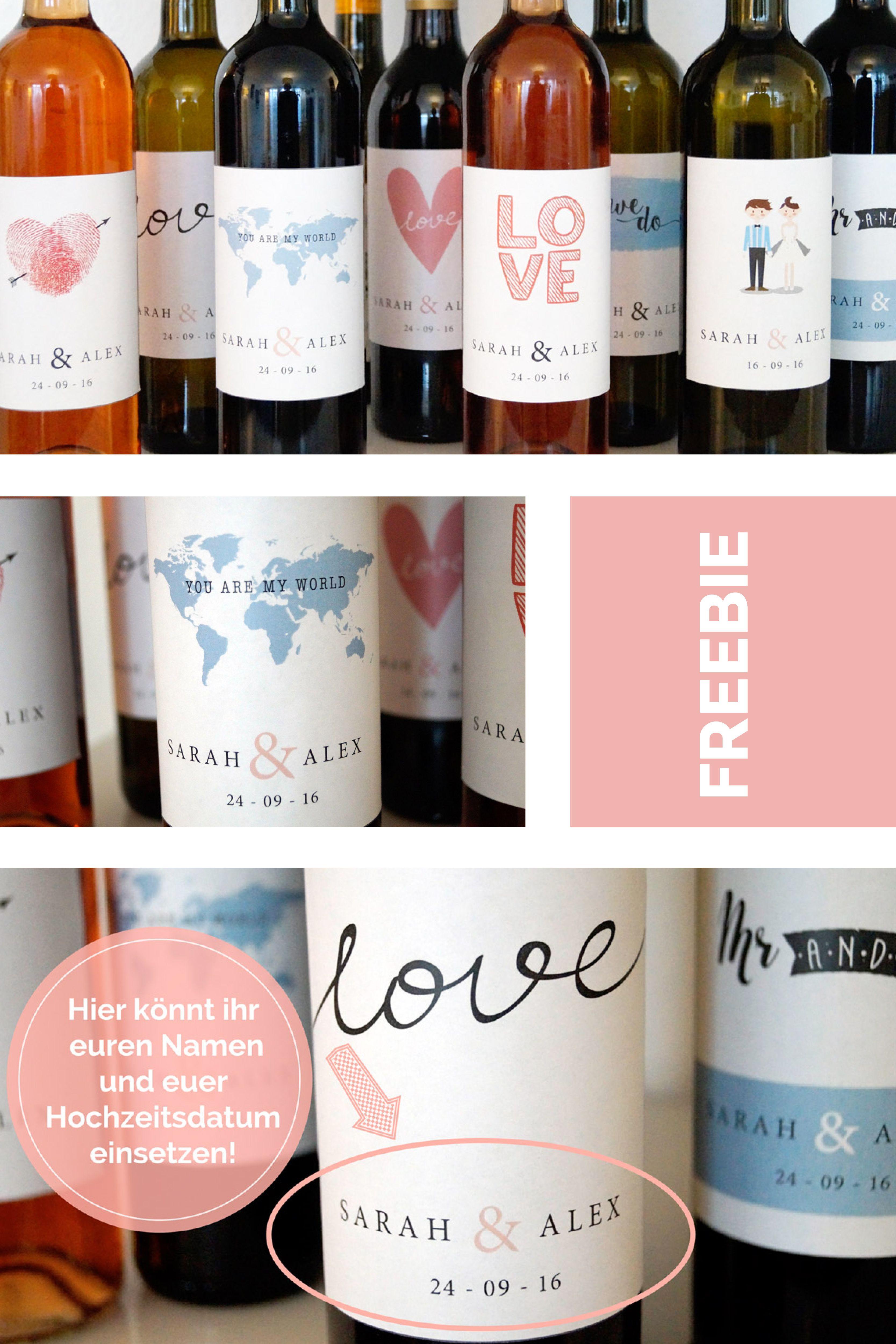 Tolle DIY Hochzeitsdeko: Flaschenetiketten mit euren Namen ...
