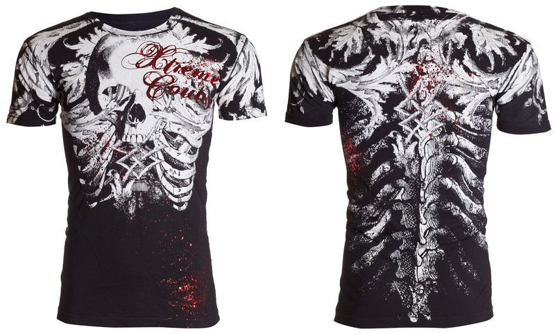 details about xtreme couture affliction mens t shirt persimmon skull tattoo biker mma ufc 40. Black Bedroom Furniture Sets. Home Design Ideas