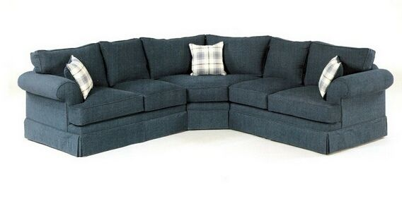 Custom Sectional Sofa With Rolled Arms And Skirted Bottom