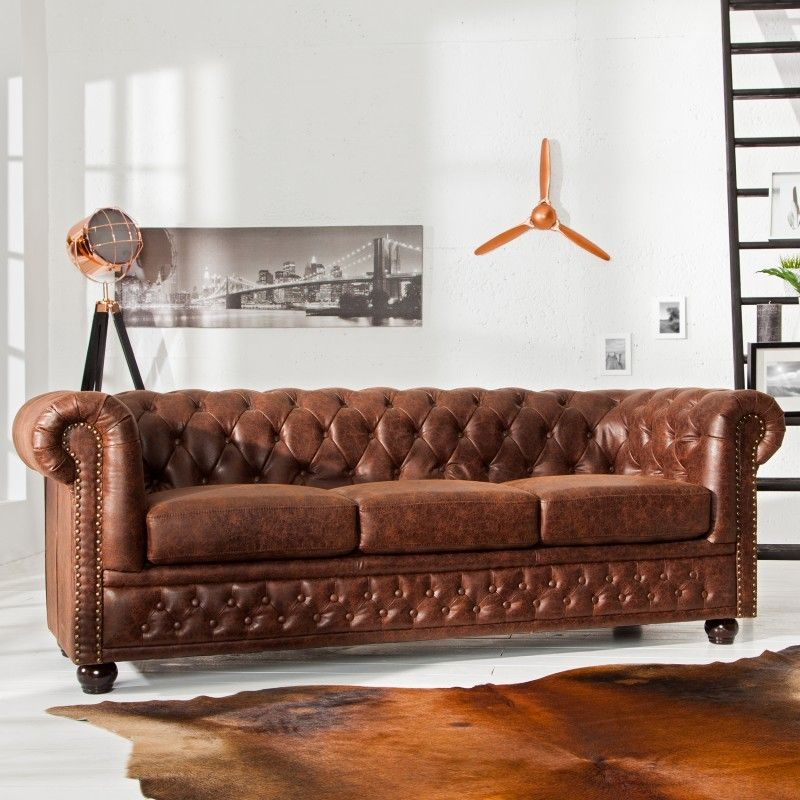 Bank 3-zits Chesterfield Vintage Bruin Echt Leer - 37202 Güzel