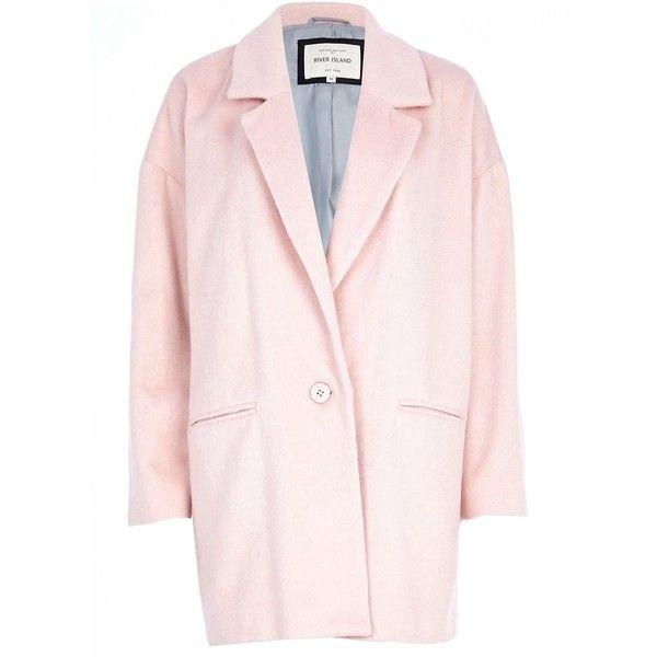 River Island Light pink drawn wool-blend oversized coat (88 SGD ...
