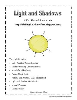 First grade science worksheets on light