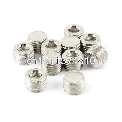 10 Pcs Brass Air Pipe Fittings 1 4 Pt Male Thread Hex Socket Plugs Caps Plumbing Pipes Home Appliances Plumbing