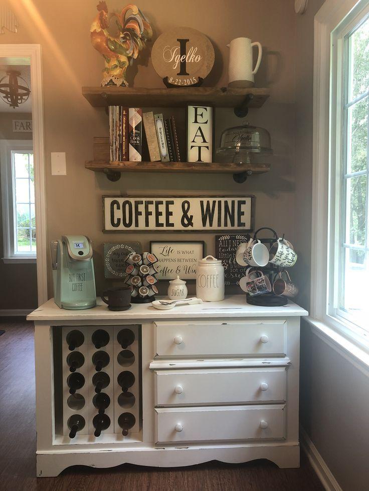 Coffee Bar; Wine Bar; Rustic Eat in Kitchen; Kitchen Décor