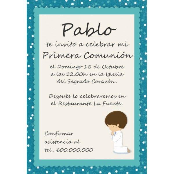Invitaciones comuni n ni o partty juan pinterest - Imagenes primera comunion nino ...