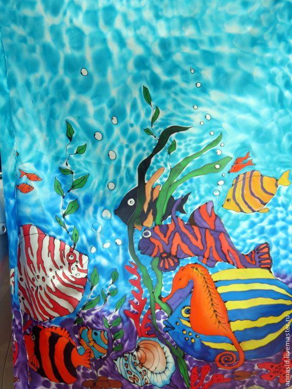 """Купить Батик для пошива туники """"Рыбный день"""" - рисунок, рыбки, рыба, коралловые рыбки, море"""