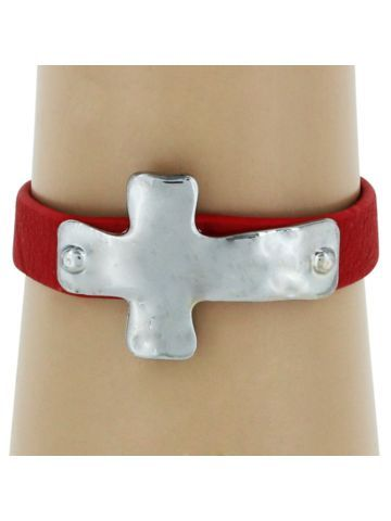 $3.25 Silvertone Cross and Red Leather Adjustable Cuff Bracelet