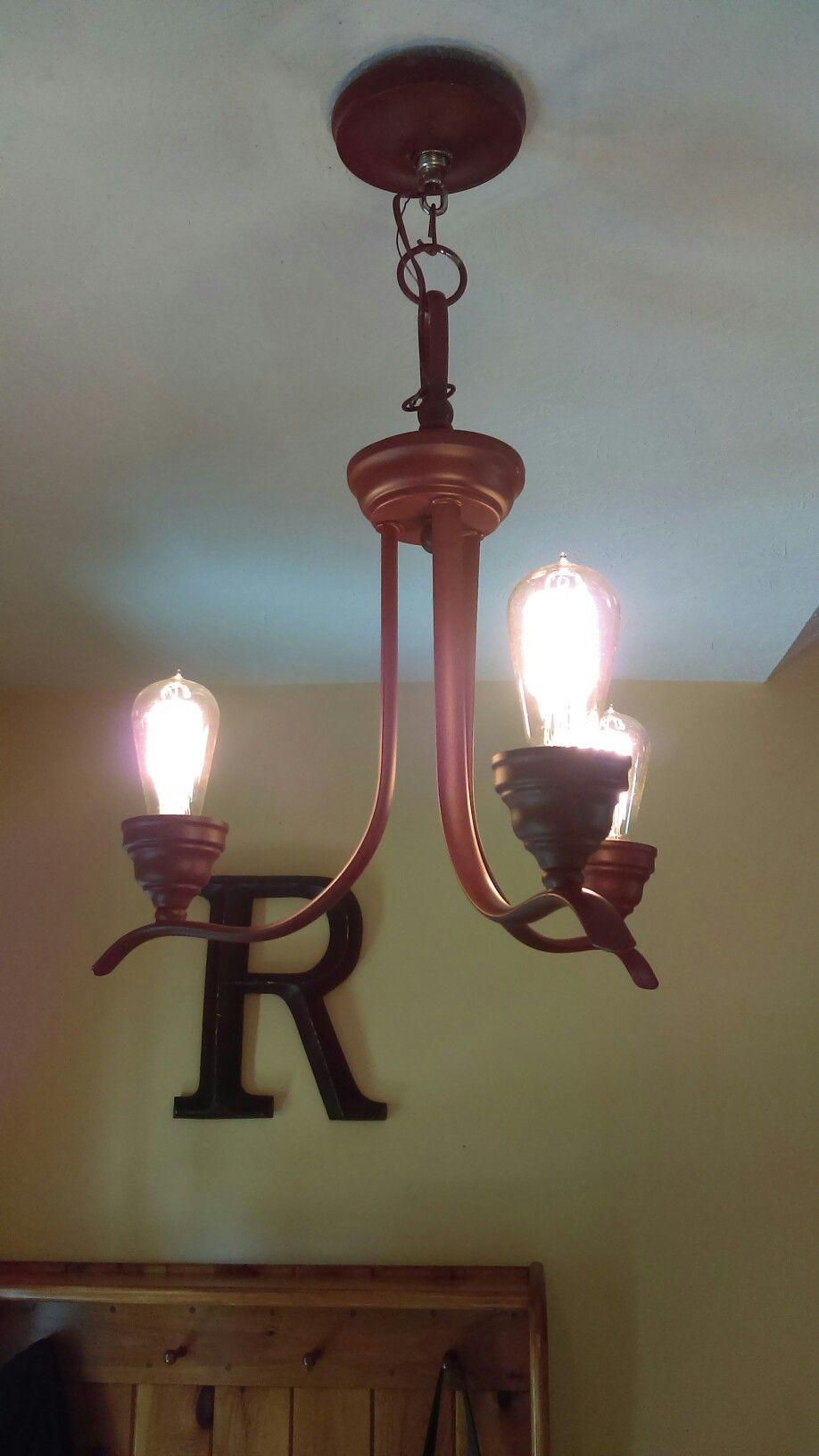 Primer Spray Painted Chandelier Formerly Chrome Wirh Edision Birdcage Lightbulbs Original Plan Was To