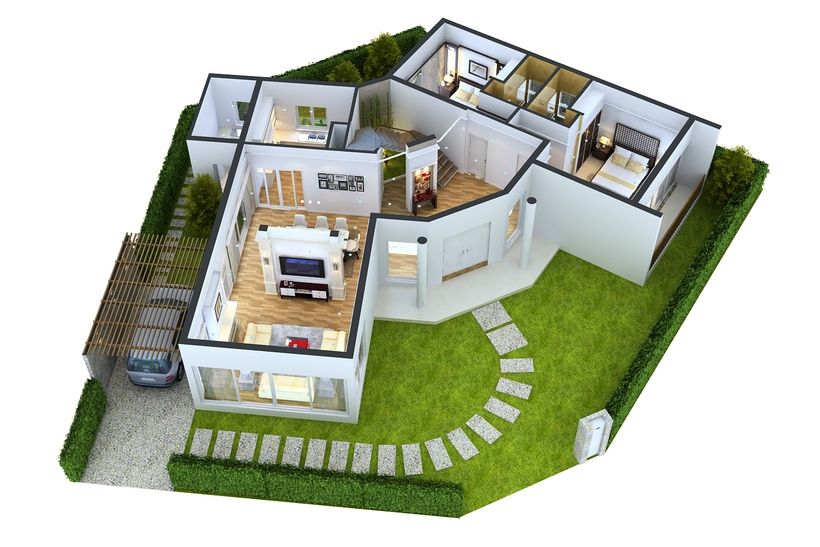 Detailed House floor 1 Cutaway 3D Model (With images ...