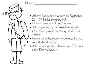 FREE Coloring Page for JohnnyAppleseed school ideas Pinterest