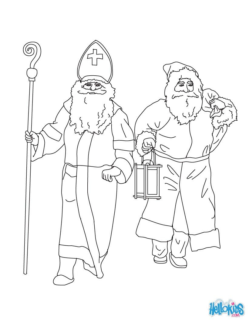 Warm up your imagination and color nicely this Santa Claus & Saint ...