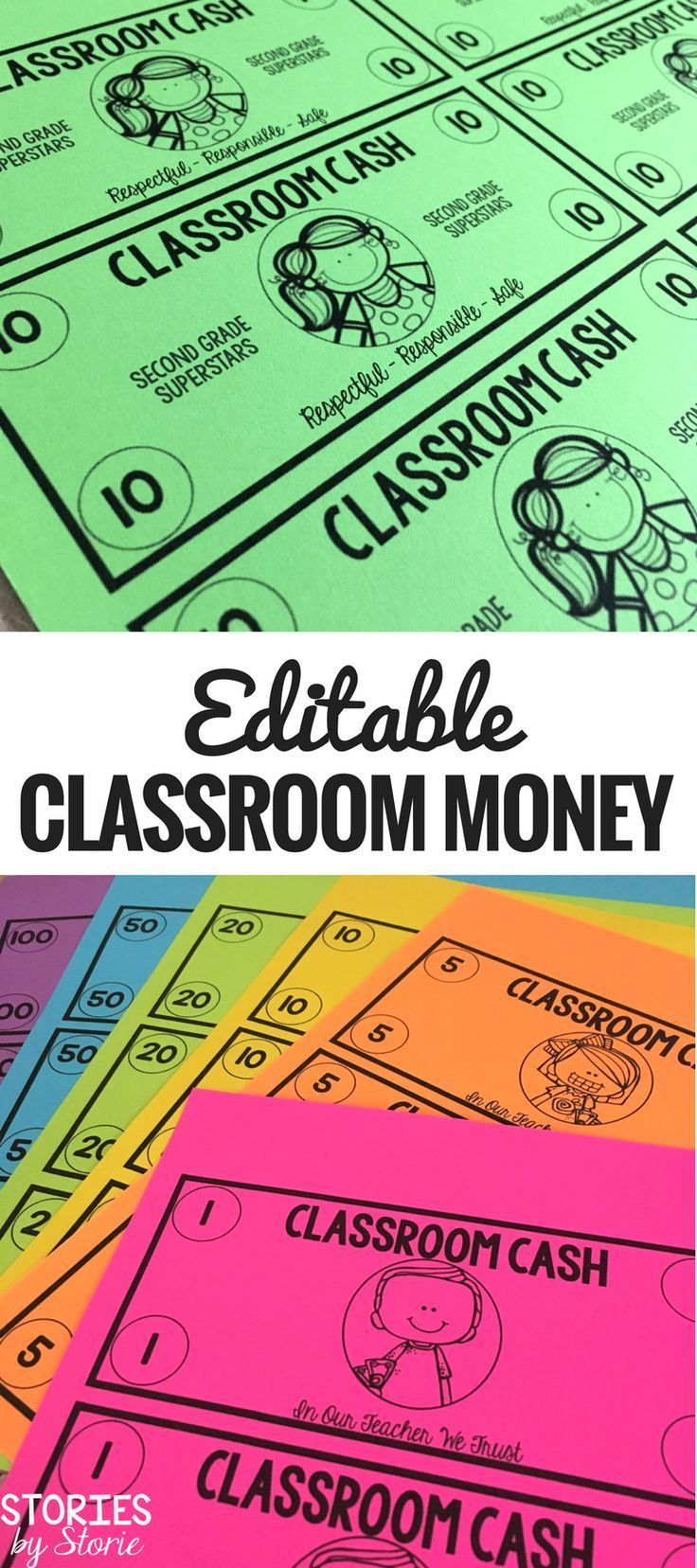 Using classroom money can be highly motivating to students and help students practice important math skills. If you're ready to use money in the classroom this year, take a look at this set of editable classroom cash. You can personalize the text to fit your classroom needs.